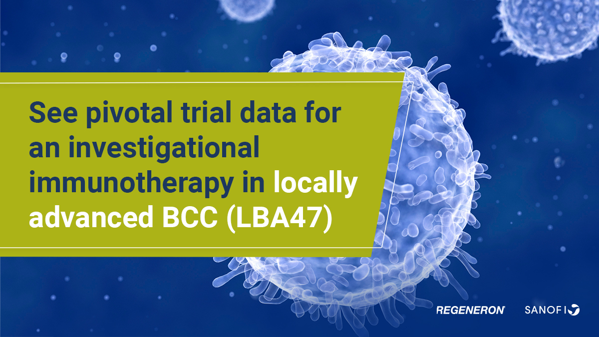 Late-Breaking #ESMO20 News: with @Regeneron, today we shared pivotal trial data for an investigational #immunotherapy in locally advanced #BasalCell #Carcinoma (BCC).  Learn more: https://t.co/PEetaDaoOa https://t.co/GhY95Mi3lw
