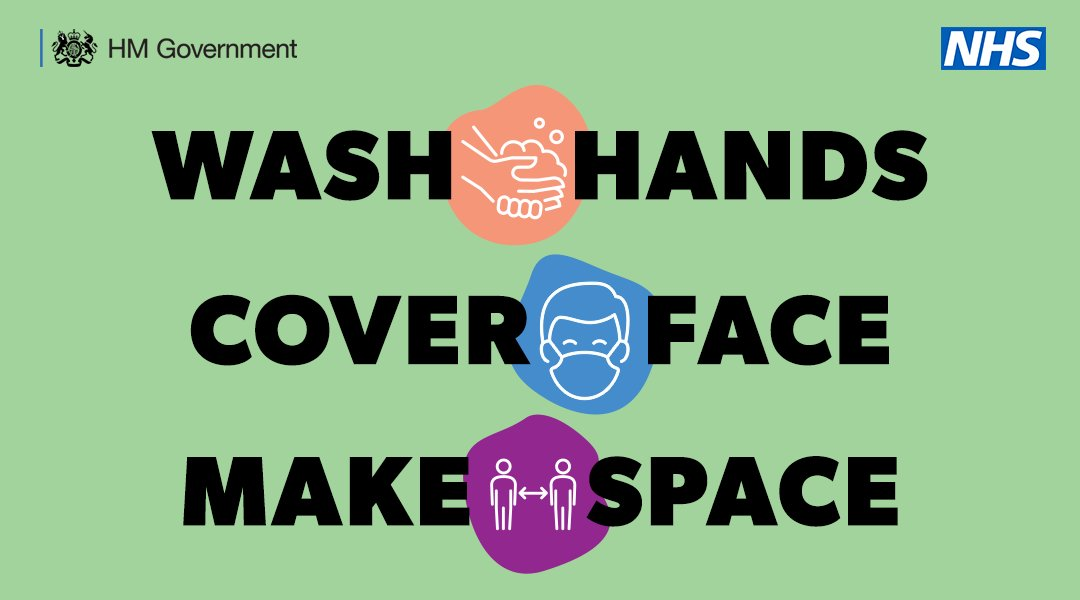 Remember to wash your hands, cover your face and keep your distance from those you don't live with.    #HandsFaceSpace https://t.co/N3pmeXuYiJ