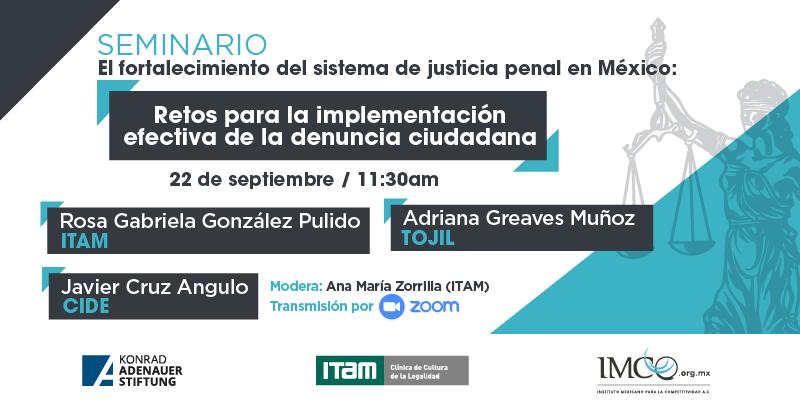 """[PRIMER] #Foro """"Retos para la implementación efectiva de la denuncia ciudadana"""". 👉#SeminarioVirtual """"El fortalecimiento del sistema de justicia penal en México"""".  🗓  22.09 🕦 11:30 h. 🎥 Zoom  ✍️Registro: https://t.co/a56szeMEJd ¡Los esperamos!  #KASMéxico 🇩🇪🤝🇲🇽 #JusticiaPenal https://t.co/7lEDkRL1tU"""