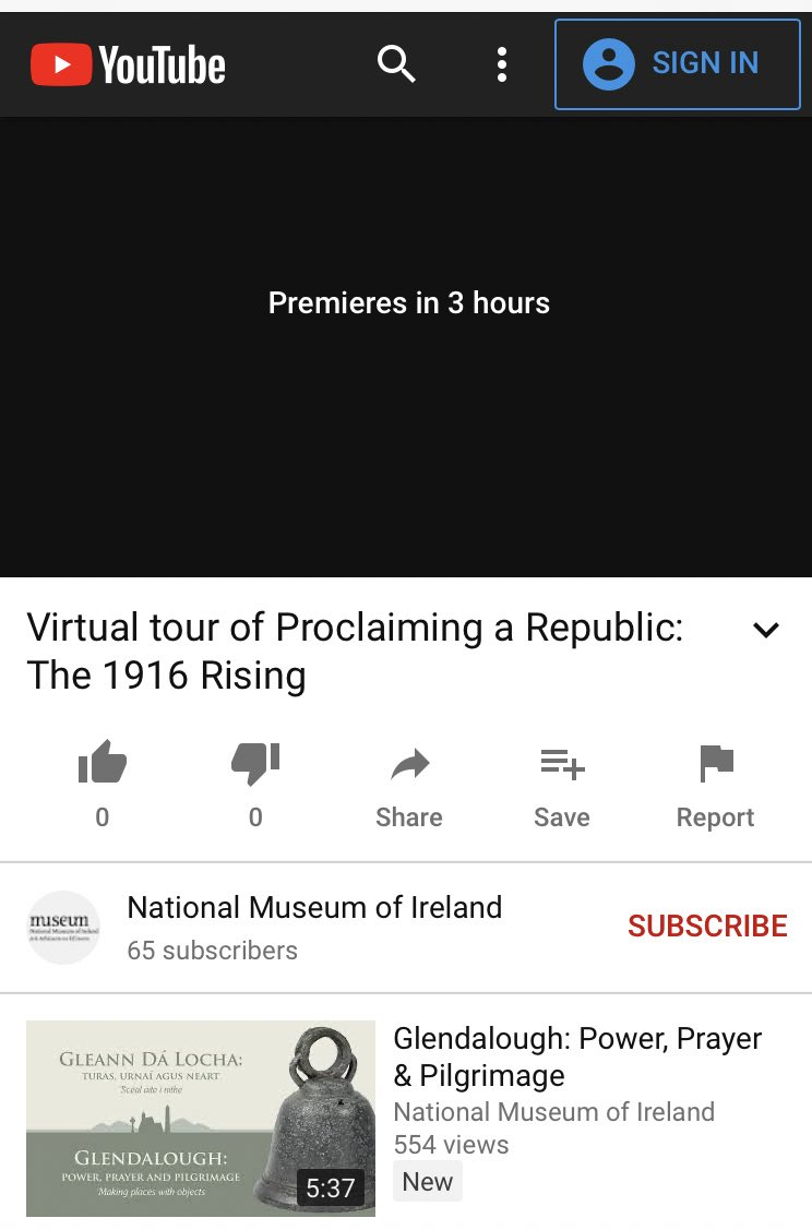 This is very exciting! Only 3 hrs to go before screening our new virtual tour of @NMIreland exhibit #ProclaimingARepublic - That's up after LIVE events with our #education colleagues on natural history at 5.30pm & on new Glendalough exhibit at 6.30pm - all part of @CultureNight https://t.co/Pdbqi0HOBF