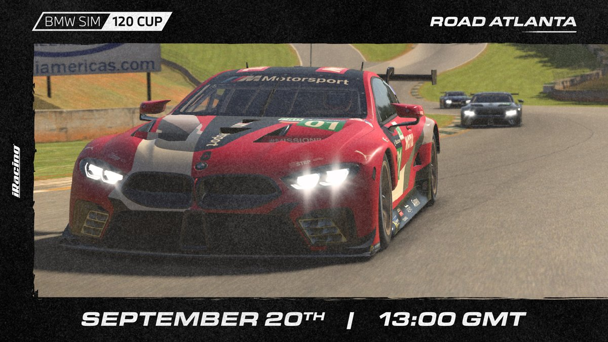 Who's competing in the BMW SIM 120 CUP this weekend? ✋  The action heads to Road Atlanta! https://t.co/ECUqgiL2dt