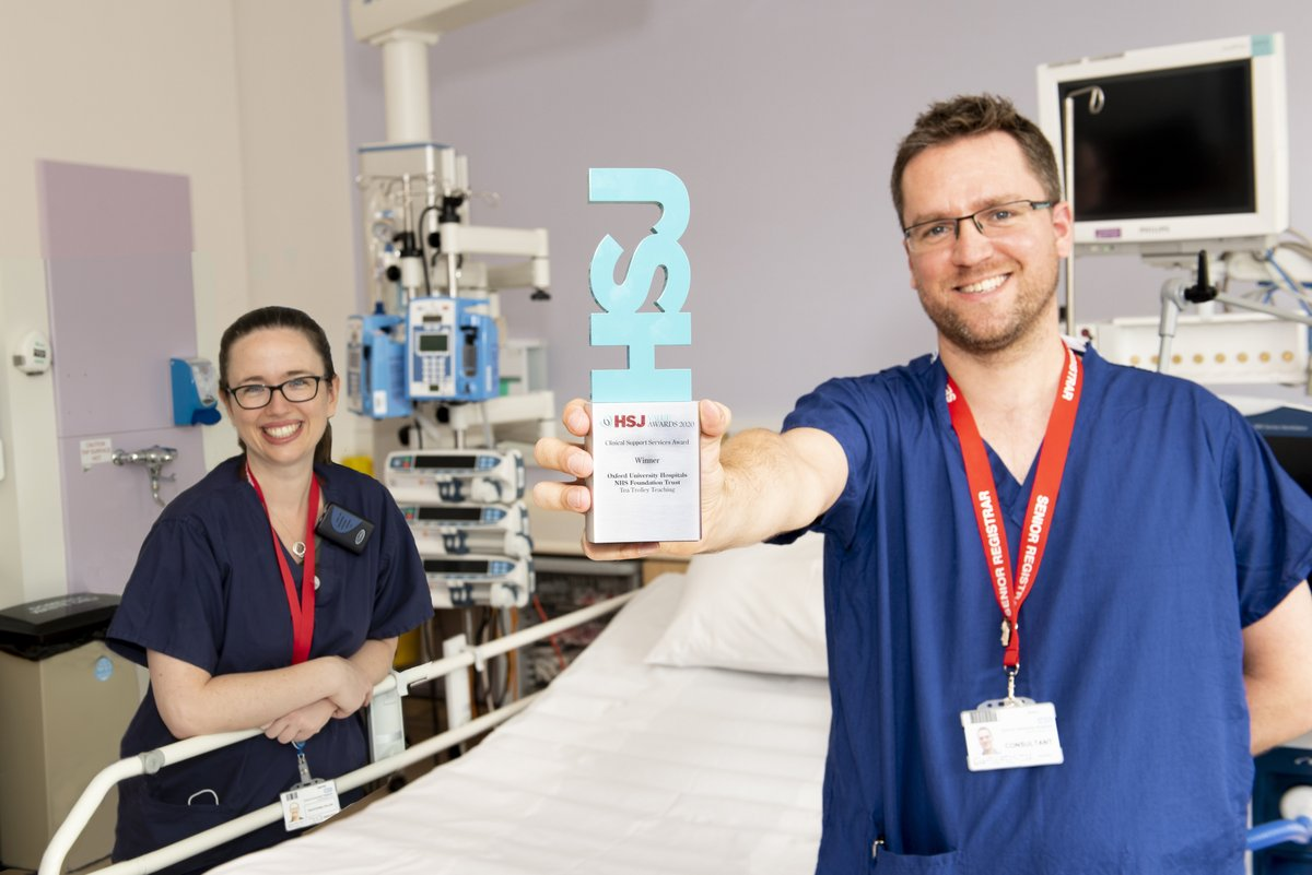 🚨 The award has officially arrived!  Congratulations again to @doc_pickering and @GoughCJ who recently won the Clinical Support Services Award at the national HSJ Value Awards 🏆  They were recognised for an innovative teaching scheme they run 👏  ▶ https://t.co/L9OHmwNa2S https://t.co/AzVCWKZmGo