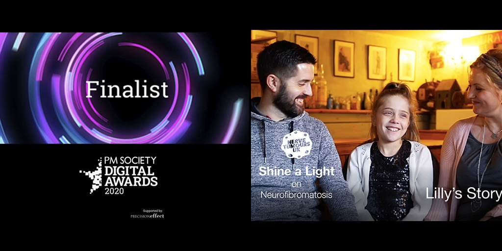 """Our movie """"Shine A Light on Neurofibromatosis"""" has been a finalist in the best film category @PMSociety Digital Awards. We congratulate a worthy winner """"Go Make Memories"""" by @NiemannPickUK and support their cause. Full List of nominees - https://t.co/wovIpVjRCW #DigitalAwards https://t.co/YSbaDkBbvq"""