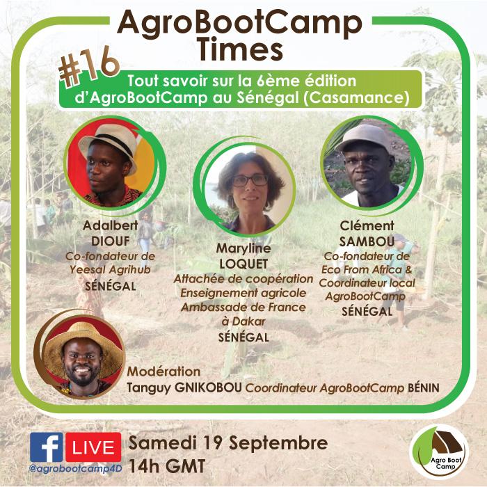 #RDV demain samedi 19 Septembre à 14h GMT pour tout savoir de la 6e édition d'@agrobootcamp en #Casamance.  👉🏾Le live se passera sur https://t.co/kR0p7l3LKw Posez vos questions et recevez toutes les informations 😉  #Agroecologie #agriculture #entrepreneur #formation #Senegal https://t.co/IXfSseqPhC