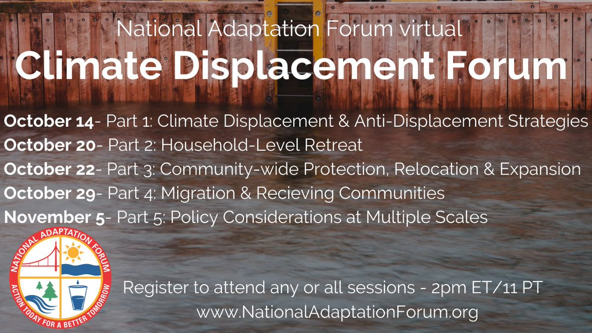 The Climate Displacement Forum is a 5-part webinar series that will take an interconnected look at climate displacement pressures along with approaches to prevent #displacement or #adapt. Register today: https://t.co/oYiq7u6vcH  #adaptation #NAF2022 #ClimateChange #ClimateAction https://t.co/BljWW9Ur5o