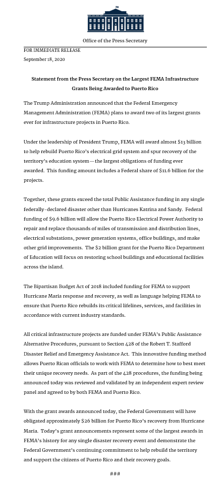NEW: President @realDonaldTrump's Administration will award Puerto Rico two of the largest infrastructure grants in United States history ‼️  Full official statement from @PressSec here: https://t.co/WDmmPy7qaS