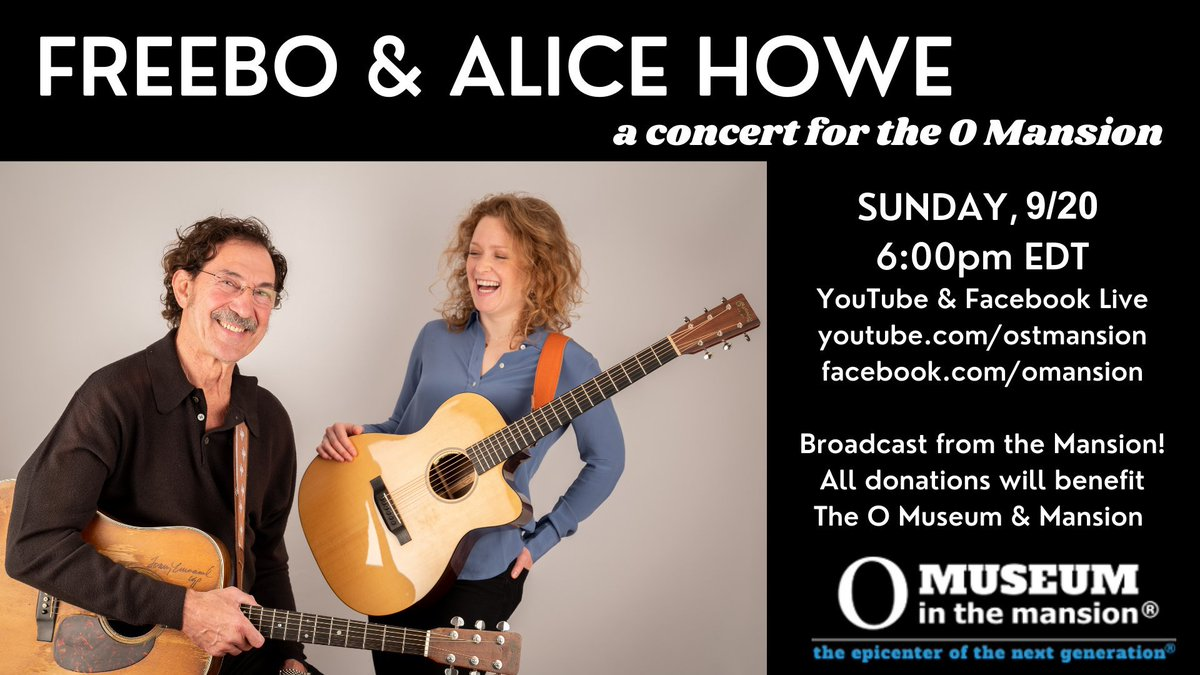 Did you know we have a FREE on-line benefit concert this Sunday. It's Freebo & Alice Howe! https://t.co/abrzIerH47  @alicehowemusic #Freebo #AliceHowe #singersongwriter #folk #onlineconcert #freemusic #omusem #dc #museum #dupontcircle https://t.co/kFhtJXsAed