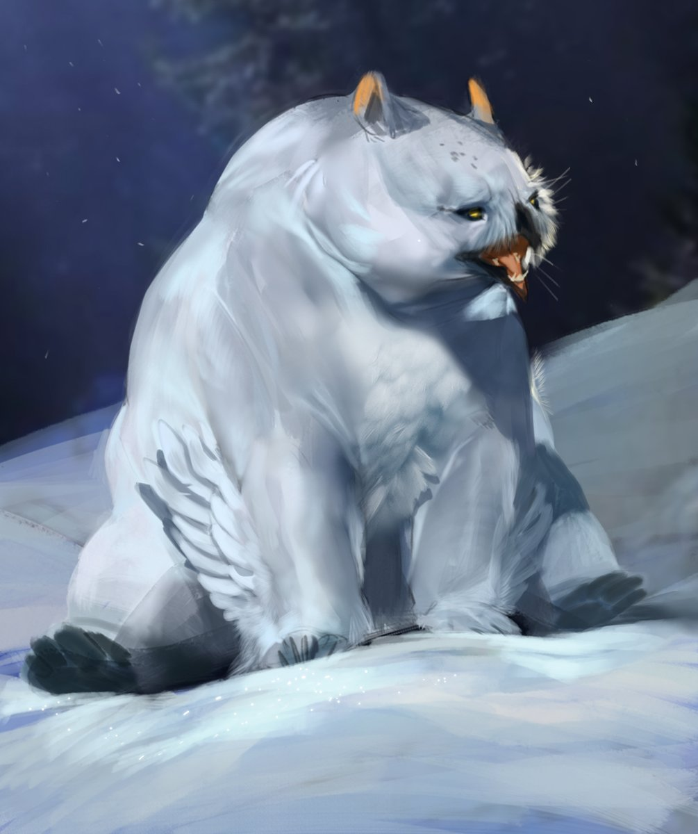 Absolute zero? Try absolute UNIT. The snowy owlbear was the first ever thing I worked on for WotC, so they're quite dear to me. The females have the same banding as female snowy owls! The babies are fat and very cute. #DnD #RimeoftheFrostmaiden  AD: Shawn Wood and Kate Irwin https://t.co/GDP6ksexVE