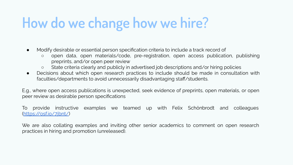 """Step 1. Change how we hire.   #openscience is increasingly conferring competitive advantages, but time is tight so training and changing long-held research routines it often not an option! So why not """"import"""" these skills into your lab by hiring individuals with expertise!? https://t.co/01bhDW3FNO"""
