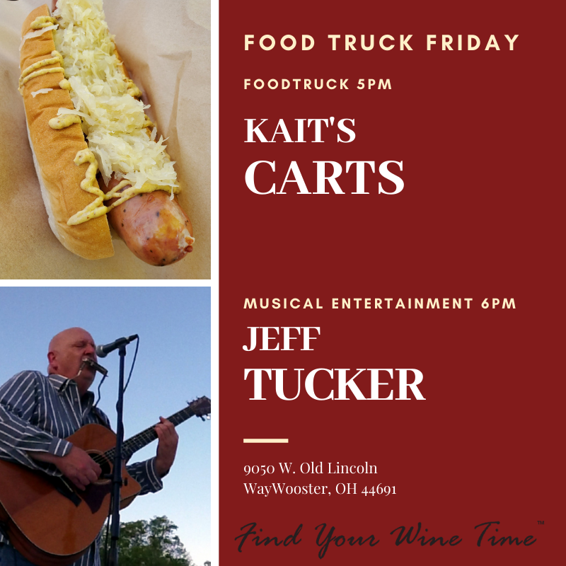 On this cool, but still fabulous, #FoodTruckFriday we have gourmet hot dogs and more from Kait's Carts And Catering starting at 5pm and live music from Jeff Tucker starting at 6pm. Join us for some Friday night fun and #FindYourWineTime. https://t.co/tEkiwNMQEx