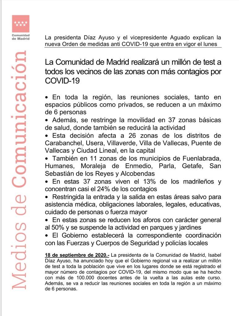 🚨ÚLTIMA HORA #CORONAVIRUS🚨  Madrid limita la entrada y salida, reduce las reuniones privadas a seis personas, y cierra los parques en 37 zonas sanitarias de la Comunidad.  Puedes consultar tu zona sanitaria aquí: https://t.co/r5nxOb9gXL https://t.co/JXzz16TLoF