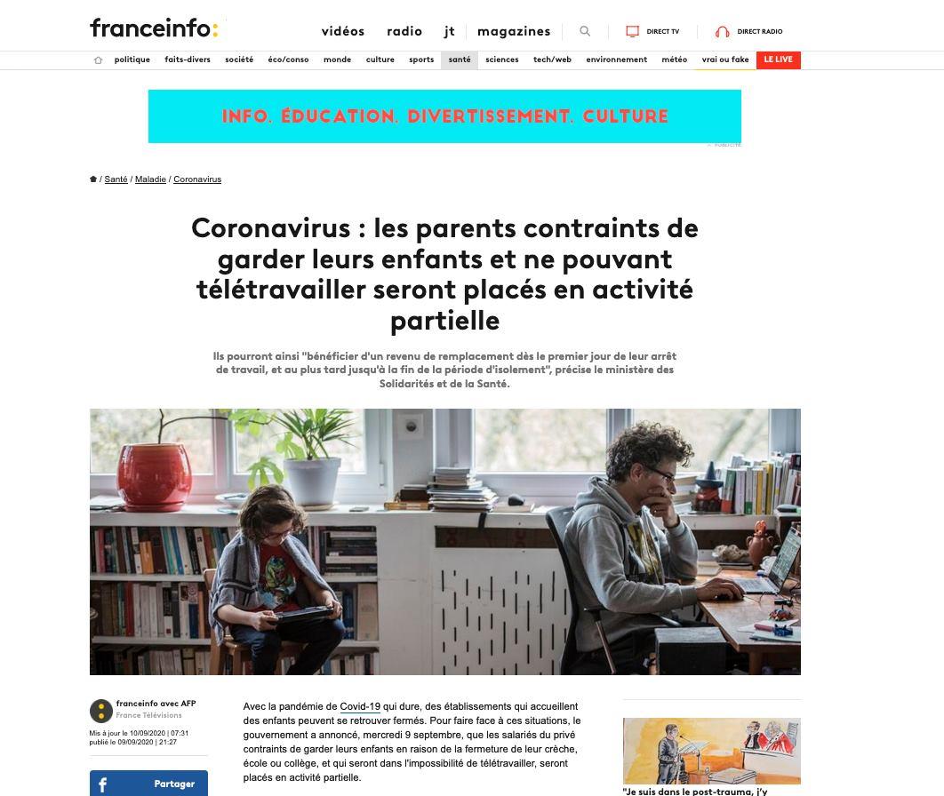 [PUBLI]  Web sur le site de Franceinfo le 09/09/2020 de Céline Gaille : Coronavirus : les parents contraints de garder leurs enfants / Chômage partiel #franceinfo #media #presse #chomagepartiel #COVID19 #teletravail #famille #enfants #hanslucas #hanslucasoccitanie https://t.co/SvjKEHk14D