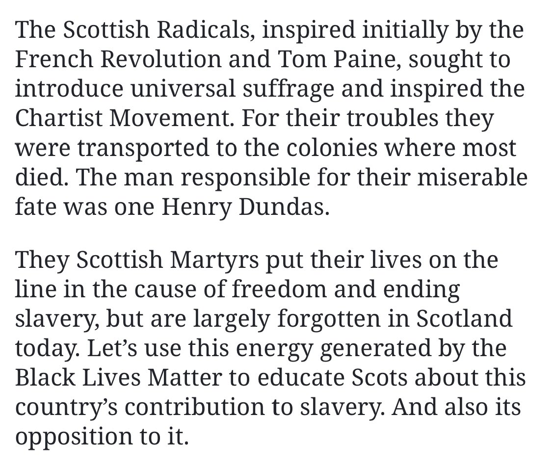 "H. Dundas was not an abolitionist as stated with evidence. I have presented evidence from M. Fry's book that H. Dundas proposed to breed young black slaves as as part of his ""gradual"" abolition plan. According to Iain MacWhirter (below) Henry Dundas resisted Scottish democracy."