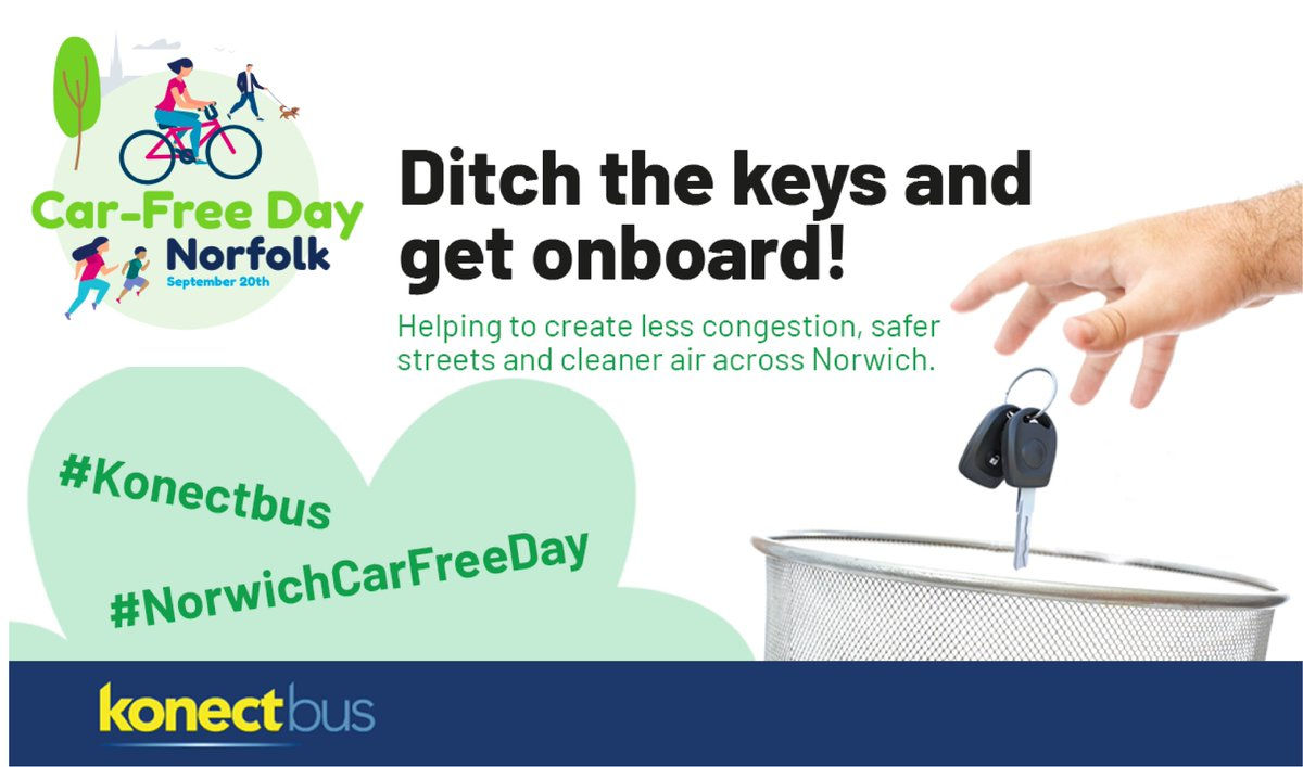 Calling all motorists? Why not ditch the keys this Sunday and hop on board one of our buses to celebrate #norwichcarfreeday. Together we can help reduce air pollution across our city. https://t.co/0Orppc3kPP   #Dereham #Wroxham #Stalham #Watton #Bungay #Poringland #LongStratton https://t.co/5a1skuVnsF