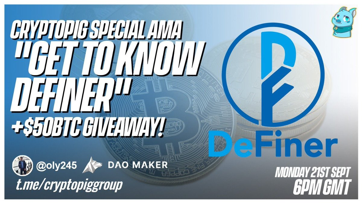 $50 #bitcoin giveaway! To enter do the following: ✅ 1 Tag 3 friends ✅ 2 Retweet 💰 Winners announced on Sept 21st 5pm GMT via our telegram AMA with @DeFinerOrg! Co hosted with @Oly245. Join the telegram here: t.me/cryptopiggroup $BTC