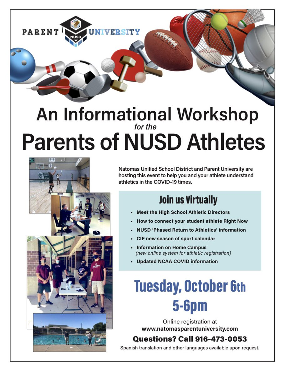 Parents of NUSD Athletes-click the link to join us in a Virtual Workshop discussing athletics in 20/21 #meetADs #howtoconnect #sportmatters https://t.co/ag1dmQEn2I https://t.co/XEZPQJko3s