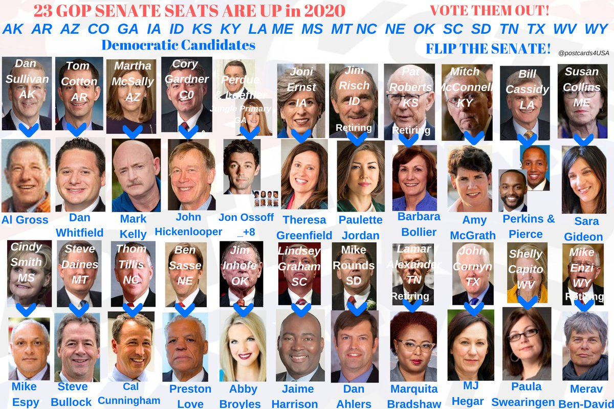 We need to #FlipTheSenate #Elections2020 Boy do we. There are 23 GOP Senators up #Senate2020 #AK #AR #AZ #CO #GA #IA #ID #KS #KY #LA #ME #MS #MT #NC #NE #OK #SC #SD #TN #TX #WV #WY #23GOP Sep 18 UPDATE THREAD with Info & Links for each Democratic Candidate #PostcardsforAmerica