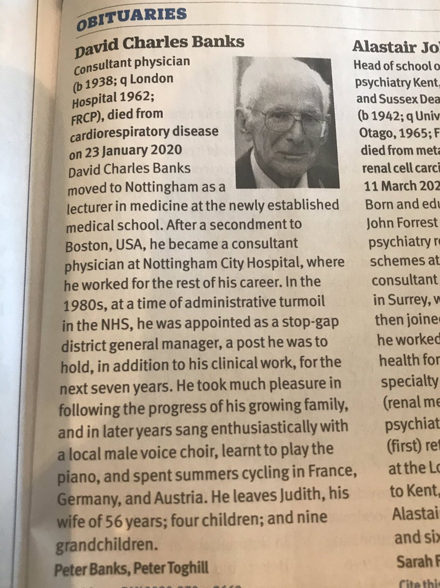Rest in Peace Dr Banks - who used to do a Tuesday afternoon ward round on Oxton ward at Nottingham City Hospital and at 4 o'clock the houseman (who in 1997 happened to be the very junior doctor who became my husband) was always despatched to get the tea tray ready https://t.co/eHQaBUDZly