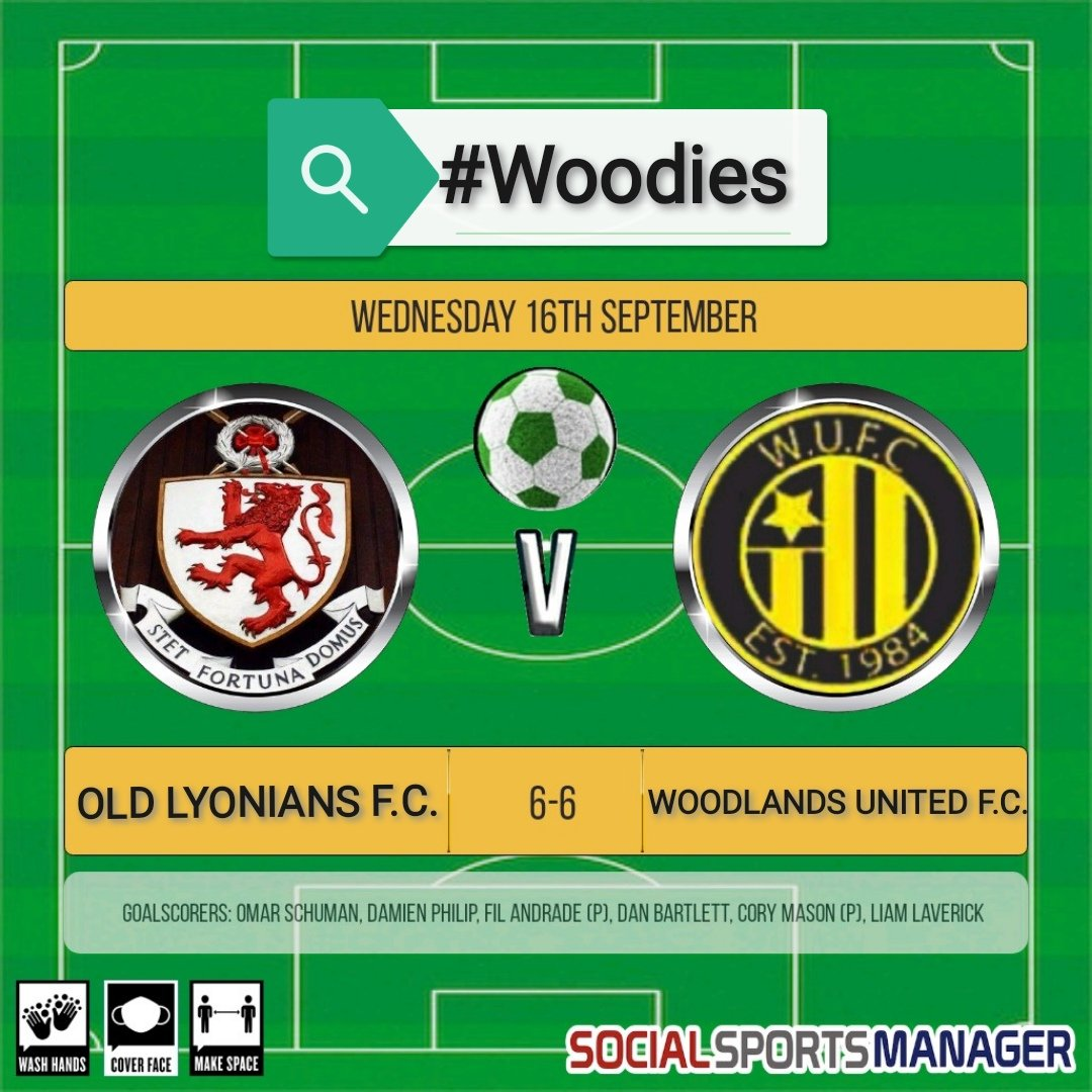 Wednesday night's friendly vs @FcLyonians was an epic & entertaining 12 goal thriller, the score finishing 6-6. Definitely one for the neutral!  Good luck to Old Lyonians for the rest of their season!  #Woodies https://t.co/6M2jppdUNs