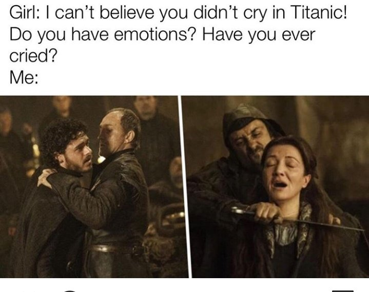 #GameOfThrones #GoT #HouseStark #Lannister #Westeros #HBO #Cersei #JaimeLannister #TyrionLannister #ASongOfIceAndFire #Targaryen #ValarMorghulis #Winterfell #SansaStark #AryaStark #Daenerys This episode was so traumatic I almost quit watching the show. I was insane I saw it! https://t.co/Yt2YmMjqeh