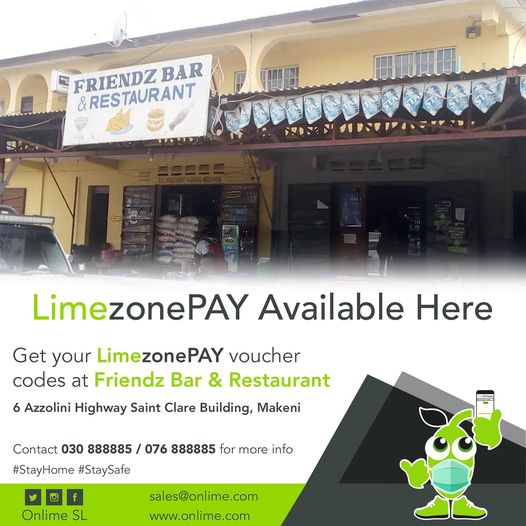 Get you LimezonePAY Voucher Codes at Friendz Bar & Restaurant 6 Azzolini Highway Saint Clare Building. Makeni https://t.co/jmA1uCzp8d