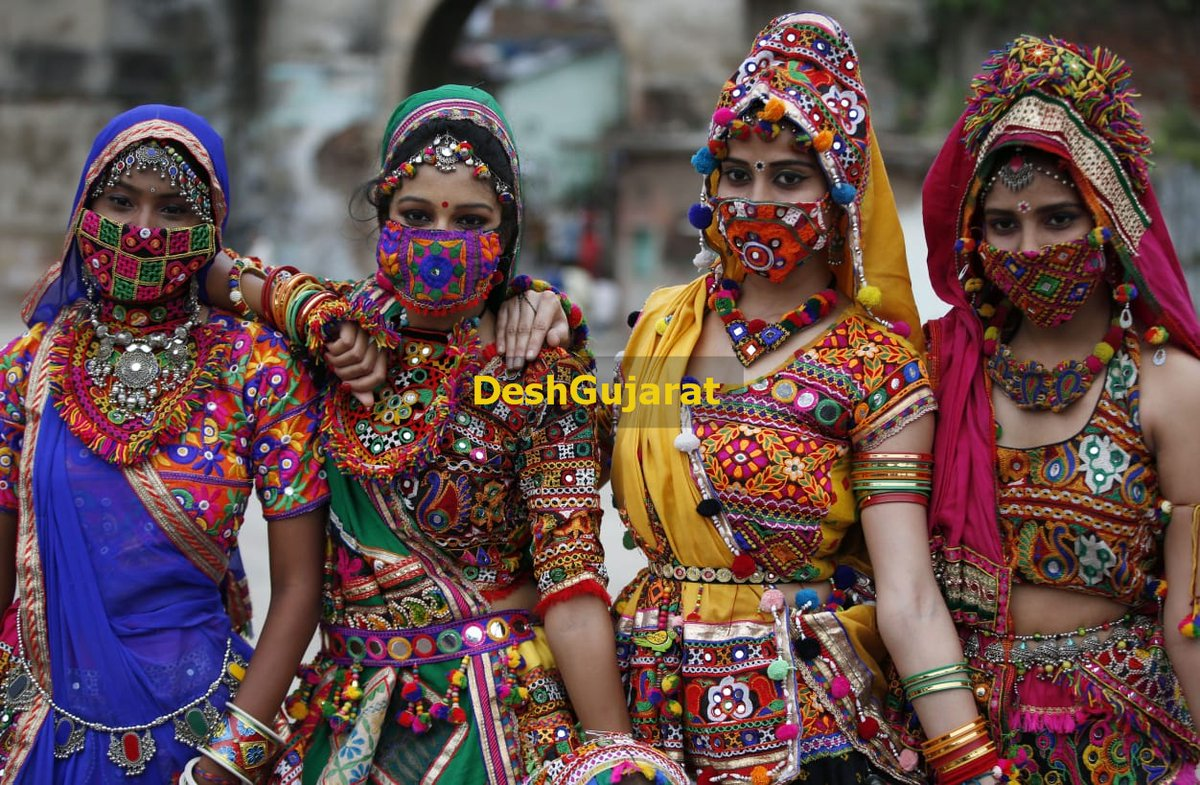In pictures: Girls practicing for Garba wearing traditional masks