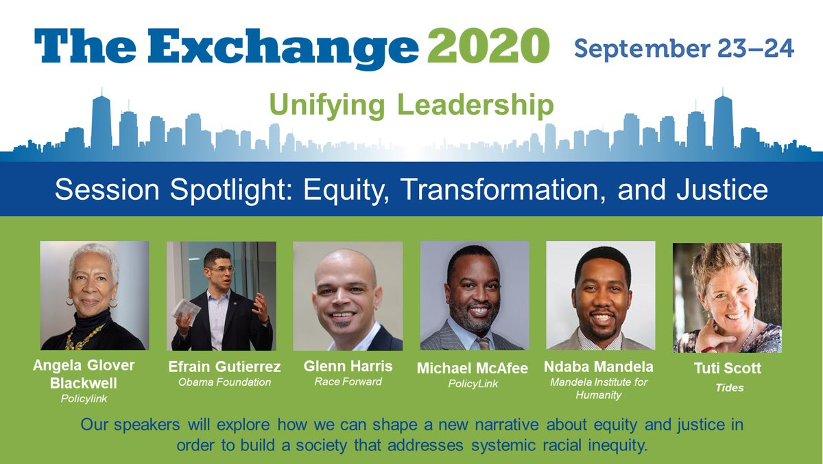Our systems are failing too many in this country, particularly people of color. Join #TheExchange2020 to hear @agb4equity @efragu @iamglennharris @mikemcafee06 @NdabaMandela and @TutiScott discuss ways to address systemic racial inequity. Register today at https://t.co/plqfOx0iLg https://t.co/Q2ILZZLznk