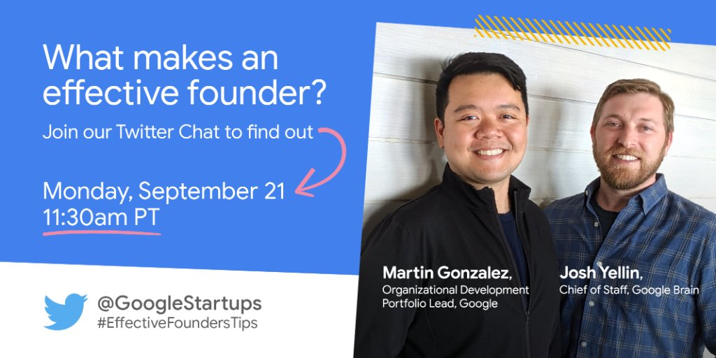 Join us on Monday for our #EffectiveFoundersTips Twitter chat! @Google researchers Martin Gonzalez and Josh Yellin are taking over our account to dive into their findings. Don't miss out ⬇️ https://t.co/fiA2l2uPF9
