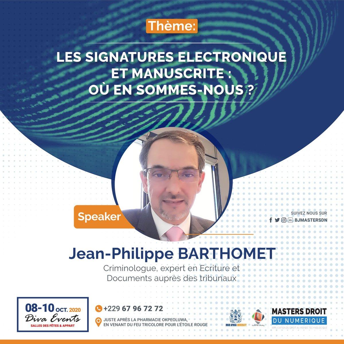 Criminologue et expert en écriture et documents auprès des tribunaux, @Jean-Philippe BARTHOMET va nous éclairer sur l'avenir de la signature. Obtenez votre pass 👉https://t.co/Aay8Dg9b8X #droitnumerique #BJMasterDN https://t.co/mIxmWQdMfO