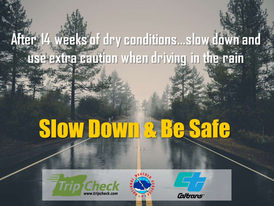 Slow down, allot extra time, and drive carefully during periods of wet weather.  Get roadway conditions 24/7 at QuickMap:  https://t.co/7eTKYuij4G #CAwx