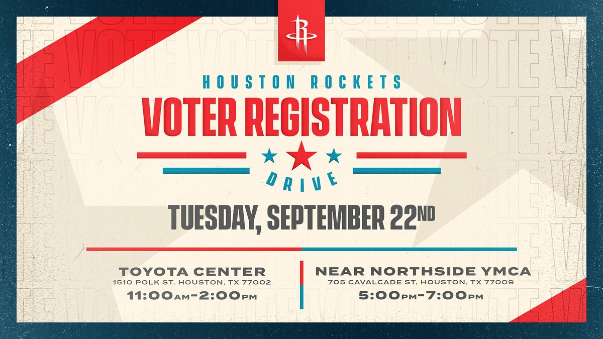 The Houston Rockets will conduct a voter registration drive at two locations on Tuesday, Sept. 22!  Stop by to register to vote, see @clutchthebear and win some Rockets prizes!  More Info: https://t.co/mdjgqg0k9g https://t.co/WEO3JHGA1e