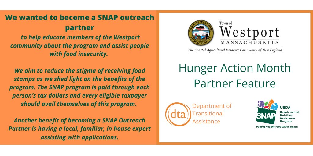 During #HungerActionMonth, DTA is highlighting & giving thanks to our #SNAP outreach partners.    Today, we are highlighting the #WestportMA's Council on Aging. https://t.co/k58zbl2ExF