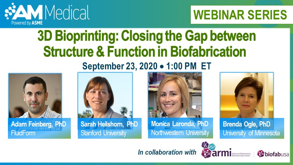Still time to register for the @ASMEdotorg  & @armi_usa   webinar on how #3Dprinting #additivemanufacturing enabled #3Dbiofabrication is impacting #healthcare https://t.co/bOmvnxwspo    @FluidForm3D @Stanford @mmlaronda @UMNews https://t.co/6Jp32yUIaJ