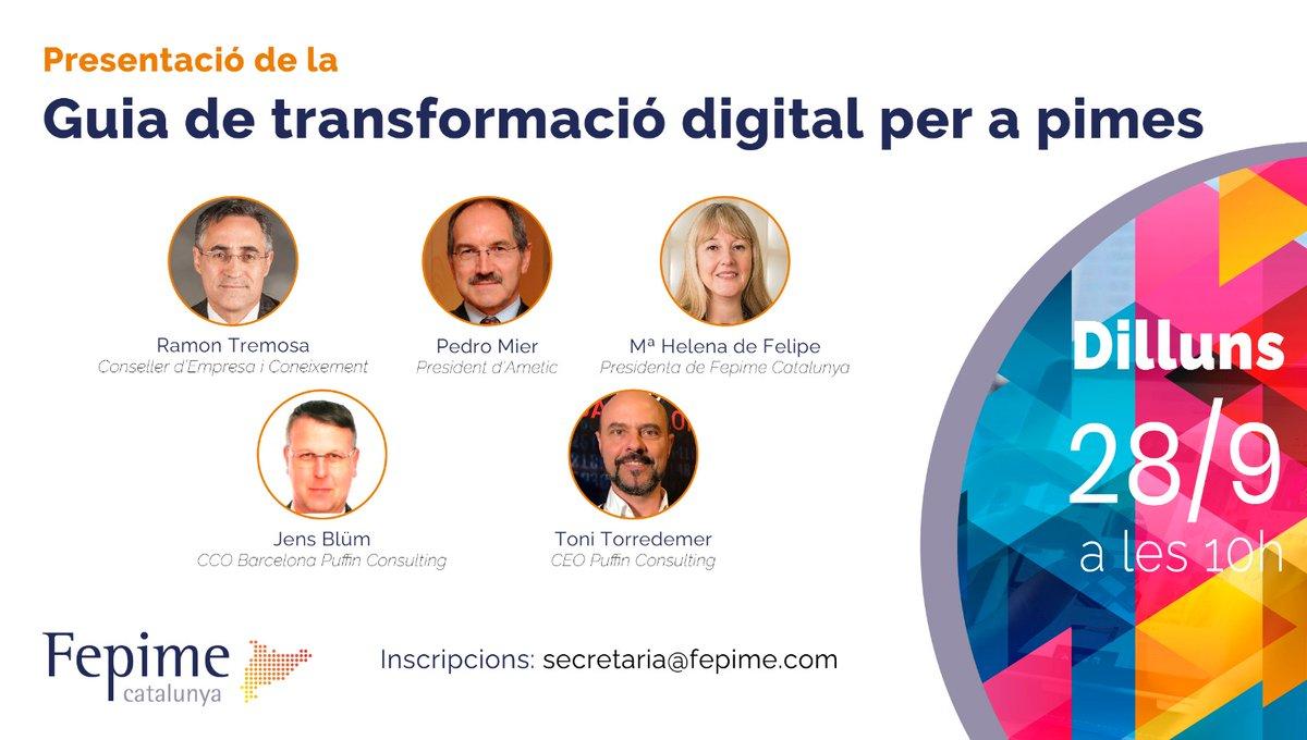 El proper dilluns 28 a les 10 presentem la Guia de #TransformacióDigital per a #pimes. Apunteu-vos escrivint a secretaria@fepime.com Us esperem! https://t.co/PmuJm4cXc2