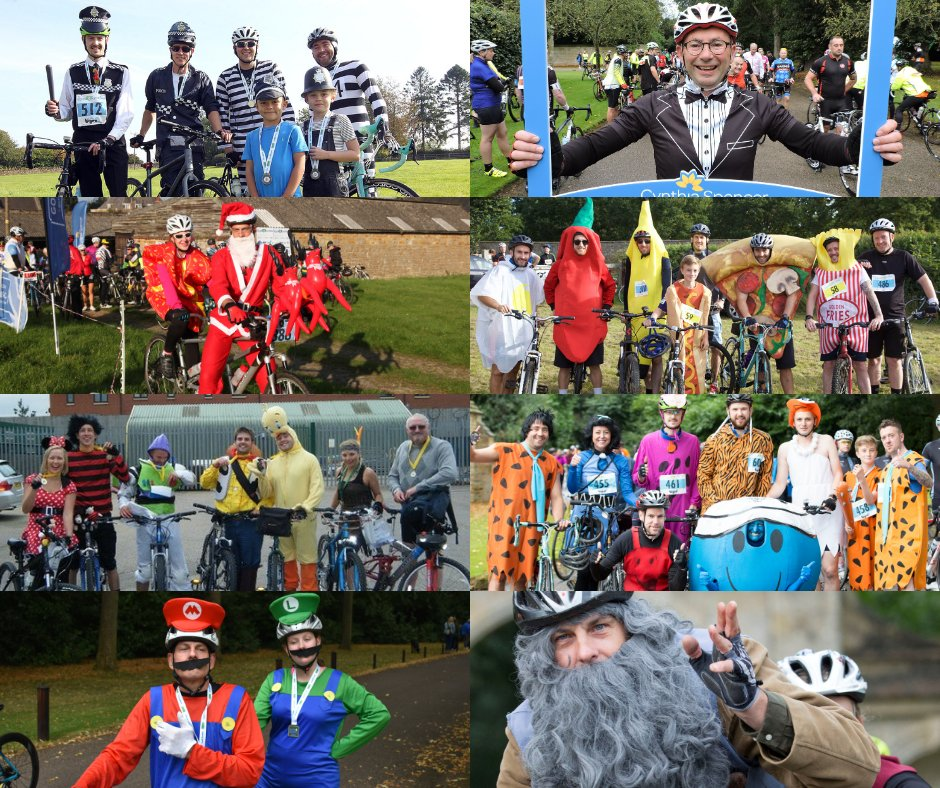 #FancyDressFriday as we take a look back on some of C4C's best fancy dress over the years 🍕🚓🎅🍌  Who will be swapping lycra for something fun this year? Share a picture of your wacky costumes and tag us, we can't wait to see👀  #c4c #cycle4cynthia #northampton #cynthiaspencer https://t.co/nWR2ALd8ZV