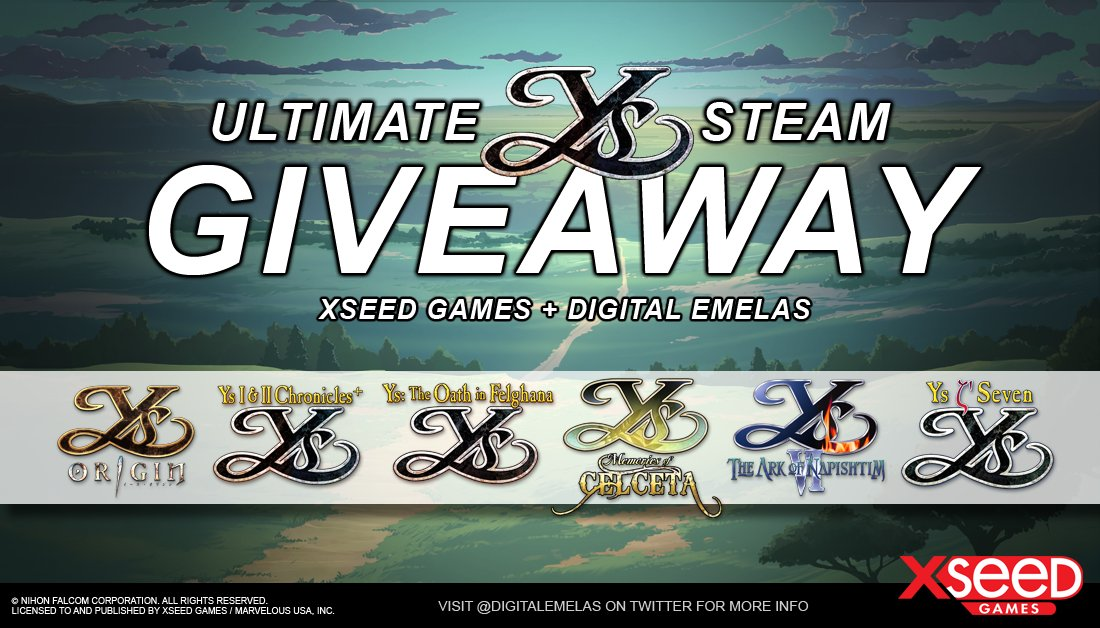 #GIVEAWAY time! Were partnering with XSEED Games again to spread awareness of #Ys & offer a chance to win all 6 #Steam games featured on WorldofYs.com! (1) Follow both @DigitalEmelas + @XSEEDGames (2) Comment #WorldofYs below (3) Retweet by Sep 23, 8pm EST. Goodluck!