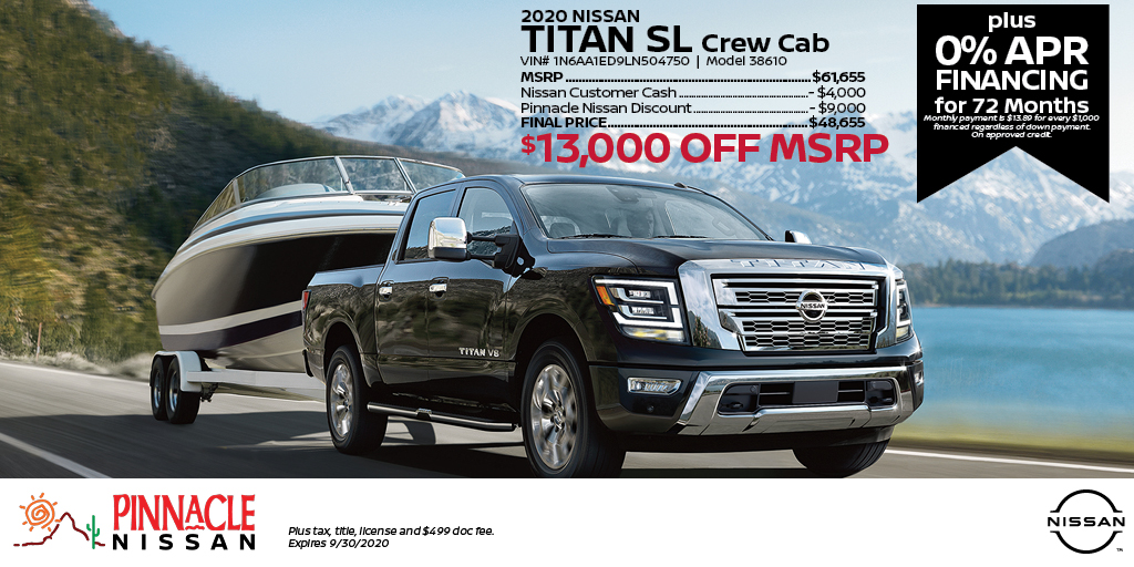 Get $13,000 off MSRP PLUS 0% APR Financing on a 2020 Nissan Titan SL at Pinnacle Nissan! Start shopping online here: https://t.co/vDeLwGiC4m https://t.co/vSQZrsJF18