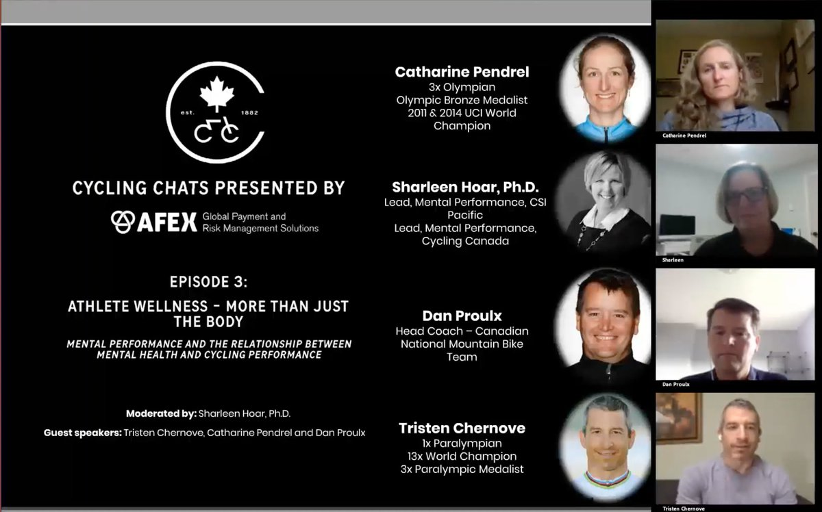 test Twitter Media - Watch the 3rd episode of the 🎙️ Cycling Chats p/b @_AFEX webinar series feature an amazing discussion on the relationship between mental health and cycling performance with Catharine Pendrel, Tristen Chernove, Dan Proulx and Sharleen Hoard.   👉https://t.co/uP7DSbcV7t https://t.co/XmSrb1tnxP