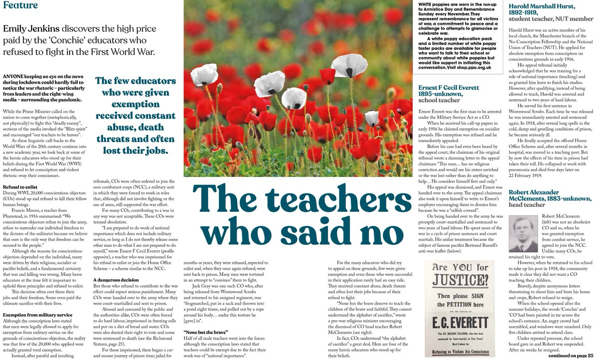 The teachers who refused to kill and die🏅  We celebrate the incredible stories of teacher conscientious objectors during WWI.  Contact PPU: jan@ppu.org.uk if you know of a relative who refused to kill during WWI.  Read more in our latest issue of Educate👉https://t.co/sdt6nnp1Lh https://t.co/rcRxquGnqj