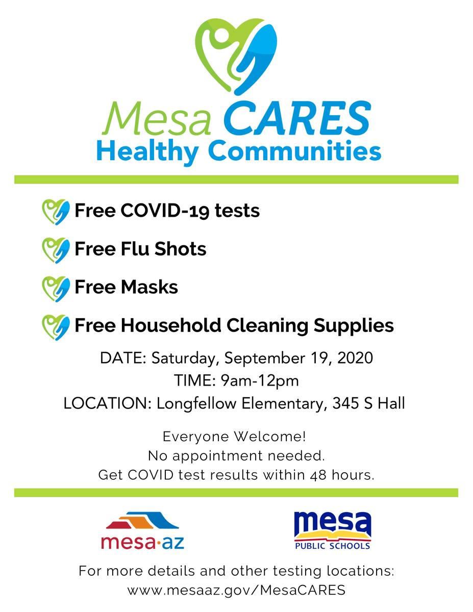 Tomorrow begins the first of five public events, offering free COVID-19 testing and flu shots to the Mesa community. The first event will be held Sept. 19 at Longfellow Elementary School, 345 S. Hall. All COVID tests and flu shots are free, regardless of insurance. https://t.co/JnR44UmUkN