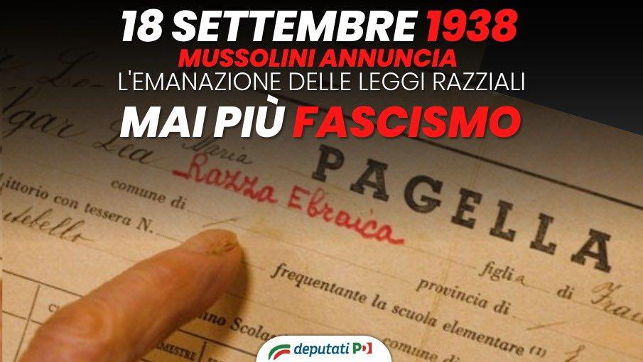 Era il 18 settembre 1938 quando, a Trieste, Benito Mussolini annunciò il contenuto delle leggi razziali. Di questo passato portiamo il dovere della memoria, come unico antidoto all'antisemitismo e alla discriminazione, del nostro impegno perché non accada mai più. https://t.co/Q2L0coCpPA