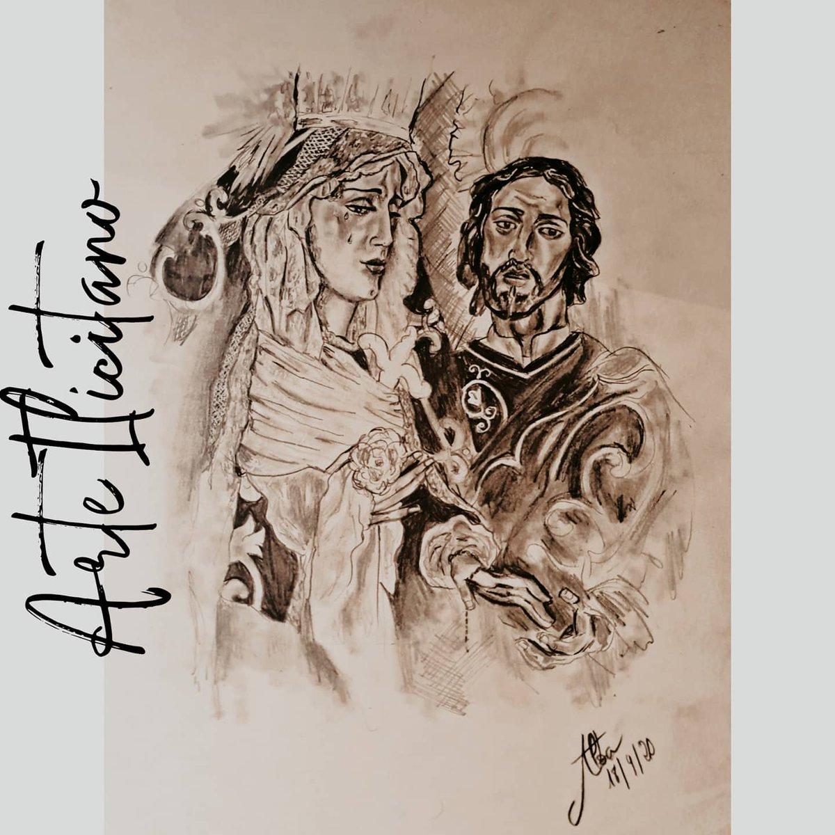 María Stma de Gracia y Amparo junto con San Juan Evangelista. Grafito sobre cartulina A3. @HdadJavieres #Arte #ArteIlicitano #Grafito #SemanaSanta #SevillaCofrade #LosJavieres #Sevilla #MartesSanto https://t.co/JnoJpcSAaC