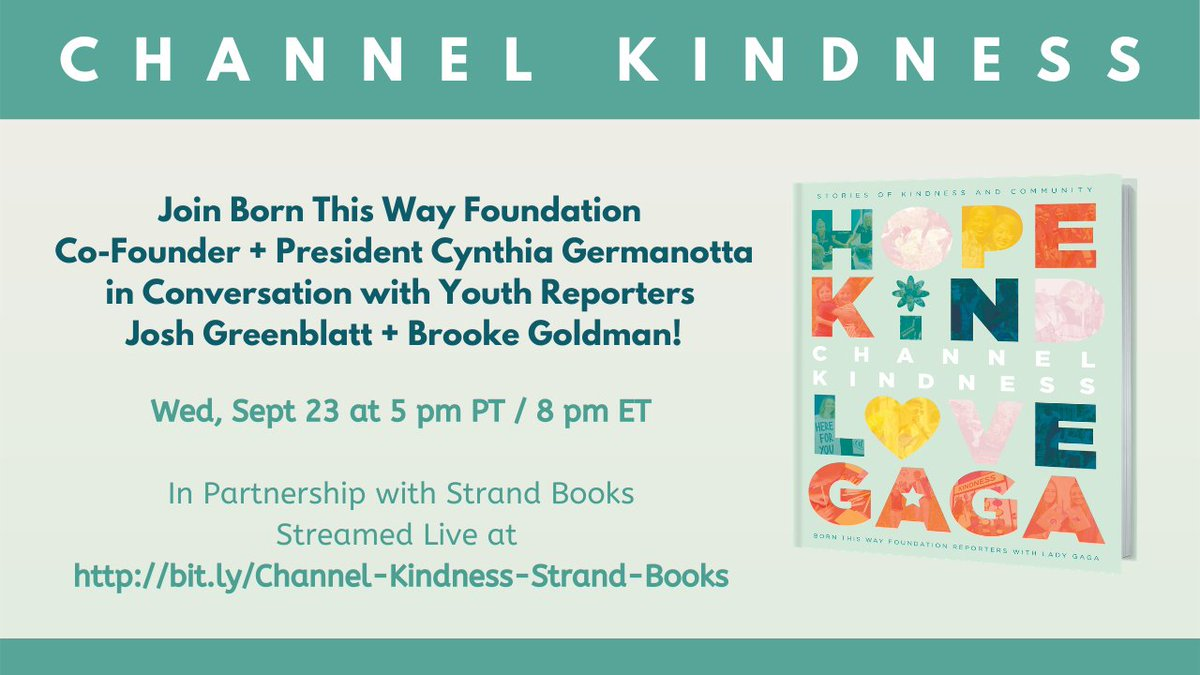 Join @momgerm and @BTWFoundation reporters in partnership with @strandbookstore for a conversation on #CHANNELKINDNESS! https://t.co/BRUVLymPy5 @ChannelKindness https://t.co/8SOa2FH2p9