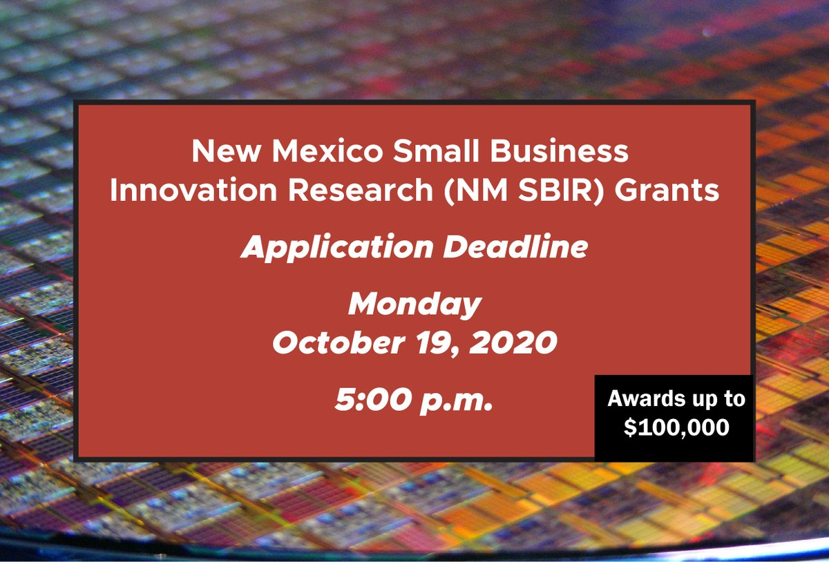 Sci/Tech businesses - Small Business Innovation Research Grant application is now available. #NMEcon Apply online by Oct 19. https://t.co/K05odoiaJh https://t.co/UUxON7l9c0