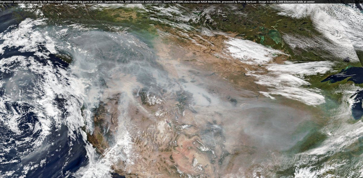 🟠 Impressive #smoke plume caused by the #WestCoastFires over big parts of the #USA🇺🇸 17 Sep 2020 #SuomiNPP🛰️ #VIIRS Full-size ➡️ https://t.co/49qiz64Qge #scicomm #OpenData #OregonFires #CaliforniaFires #wildfires Image is 3,800 km wide at center More ➡️ https://t.co/TH0LNZz1TL https://t.co/q0Eop8qsPf