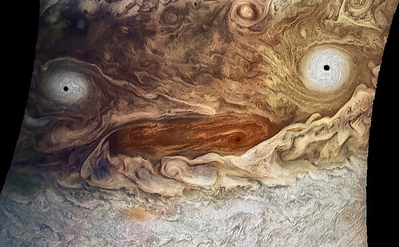 Jupiter, high on caffeine, sleep deprived, and doing its best to take care of 79 moons 😩