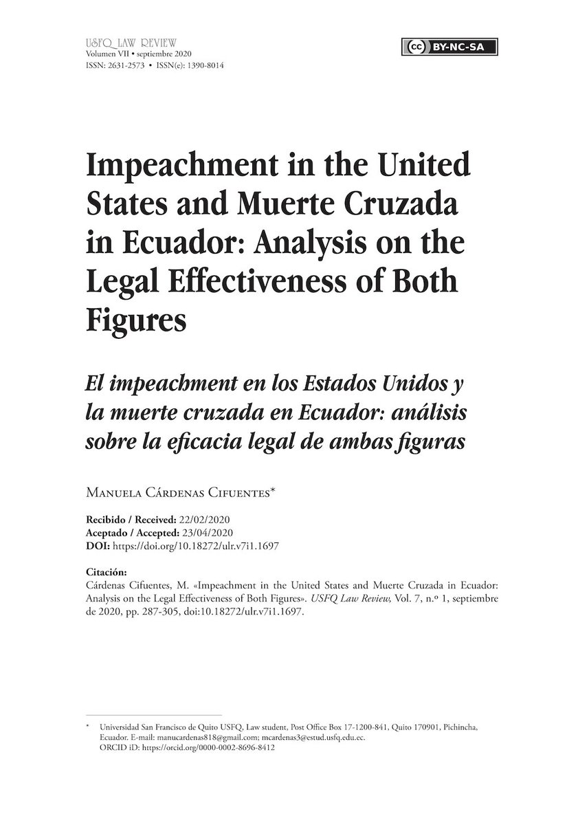 Impeachment in the United States and Muerte Cruzada in Ecuador: Analysis on the Legal Effectiveness of Both Figures.  DOI: https://t.co/e7rHvbBROH https://t.co/52resjsx3Q