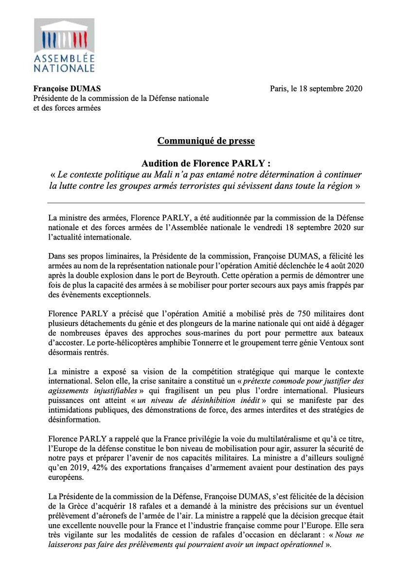 Retrouvez le #communiqué de #presse de la présidente de la @AN_Defense, @fdumasdeputee, suite à l'audition de @florence_parly, ministre des #armées. #ComDef #DirectAN @Armees_Gouv https://t.co/drDmNE6Aju