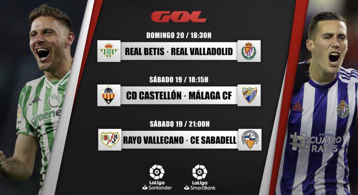 📺Menú @Gol #Jornada2   👉Mañana doble ración de #GolesDePlata Castellón-Málaga (18.15) y Rayo-Sabadell (21)  👉Y el domingo debutamos en #LigaSantander con el Betis-Real Valladolid 👇 https://t.co/hjzf3CScuP