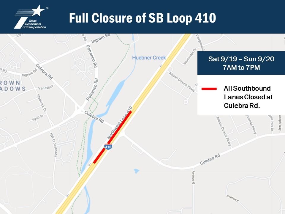 UPDATE: Crews were able to open one lane of Loop 410 Southbound at Culebra. Delays are still expected.